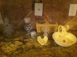 This is our Angel Worry and Wish Station! We love asking our Angel's for help and guidance.